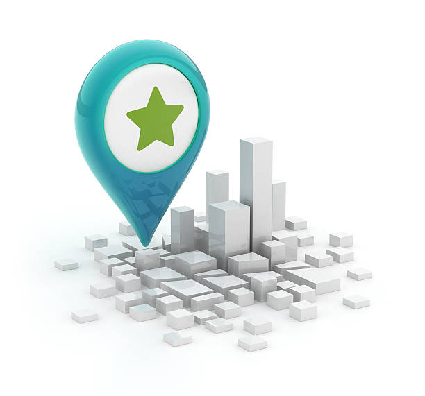 Map pointer with star icon - 3d city stock photo