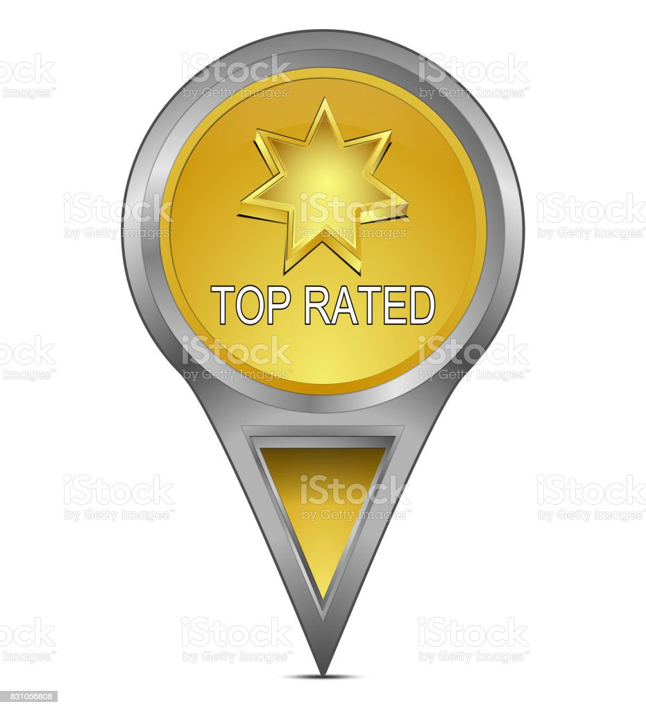 Map pointer with Top Rated – 3D illustration stock photo