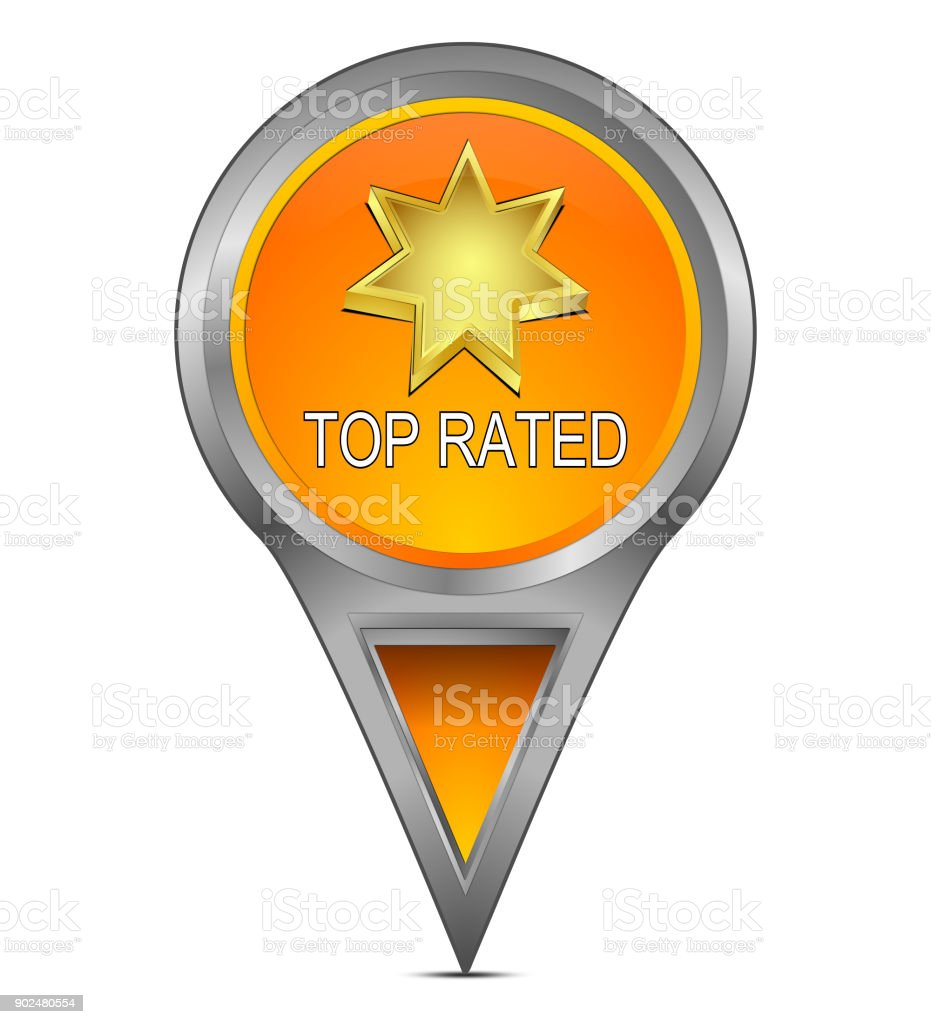 Map pointer with Top Rated - 3D illustration stock photo