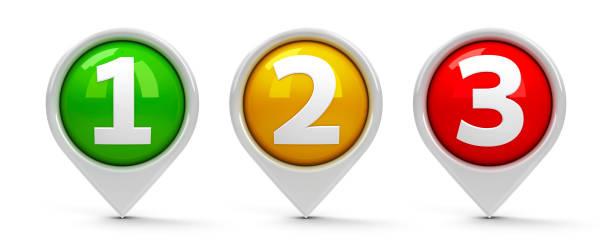 map pointers 1 2 3 - terceira imagens e fotografias de stock