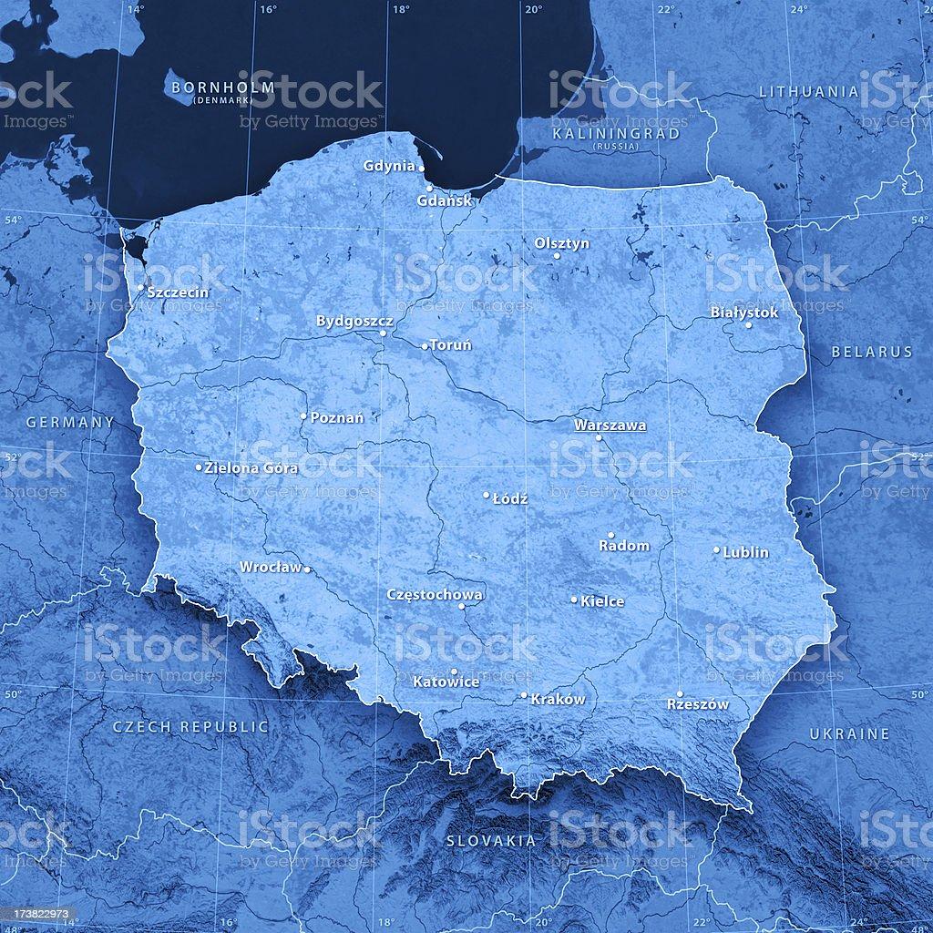 Map Poland (english version) royalty-free stock photo