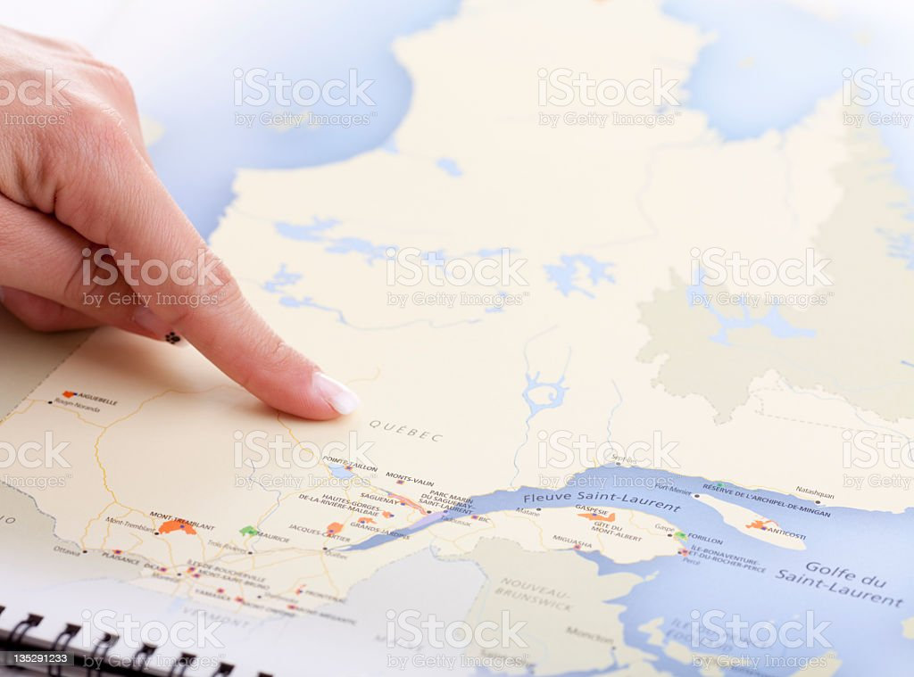 Map Quebec Finger royalty-free stock photo