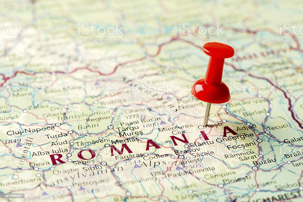 Map Romania stock photo