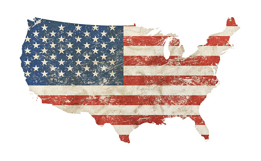 US map shaped old grunge vintage dirty faded shabby distressed American national flag isolated on white background
