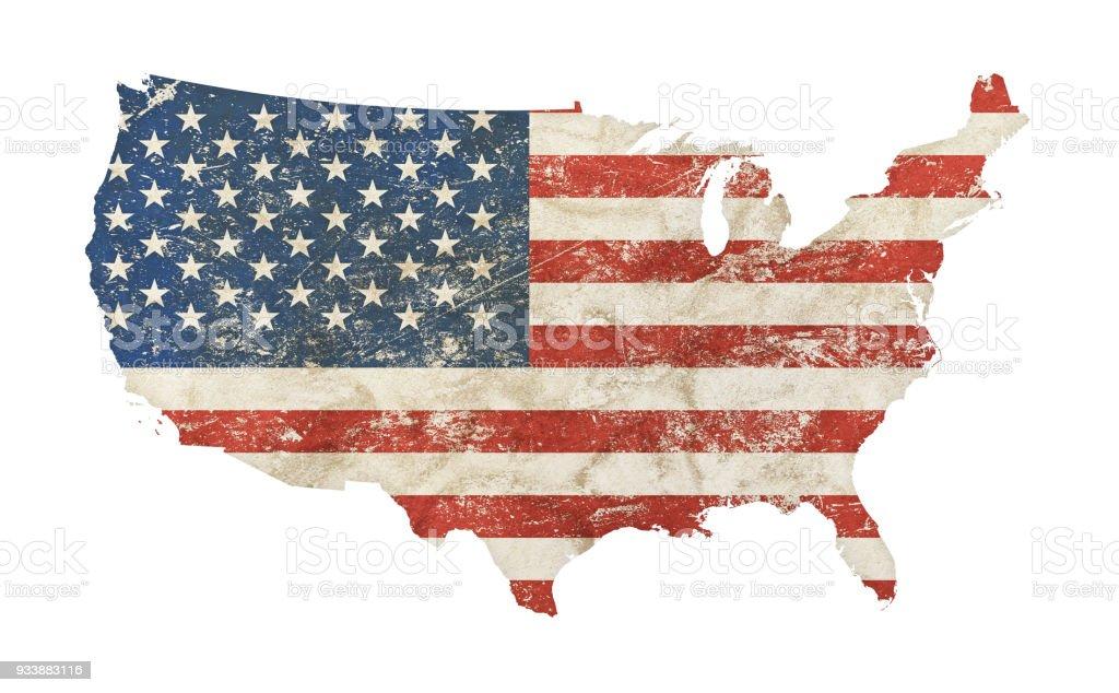美國地圖形狀的垃圾葡萄酒褪色的美國國旗圖像檔