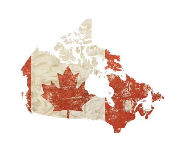 map shaped old grunge vintage flag of canada - canada stock photos and pictures