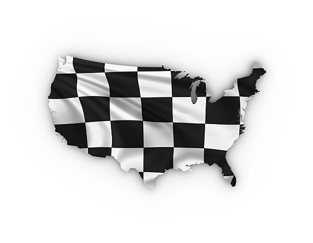 usa map showing a checkered flag - daytona 500 stock photos and pictures