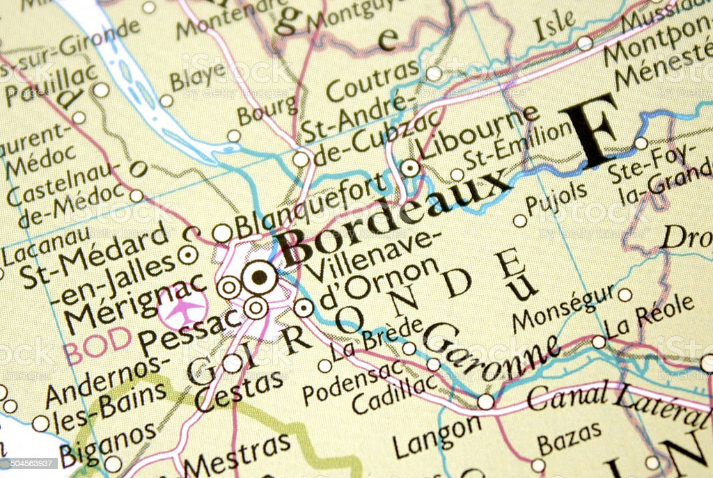 Map Of France Showing Bordeaux.Map Showing Bordeaux In France Stock Photo Download Image Now Istock