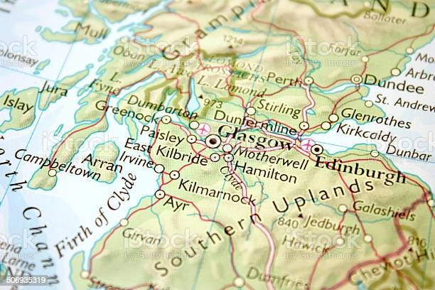 Cartina Stradale Della Scozia.Mappa Mostra Glasgow Ed Edimburgo In Scozia Fotografie Stock E Altre Immagini Di Carta Geografica Istock