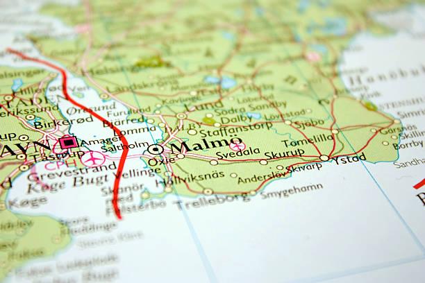 map showing malmö in sweden - skåne bildbanksfoton och bilder
