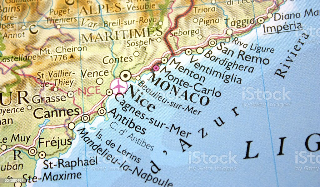 Map Showing Monaco Nice And The Cote Dazur Stock Photo More