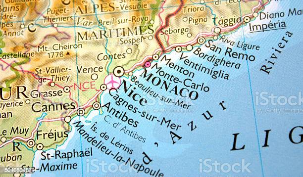 Francia Costa Azzurra Cartina Geografica.Map Showing Monaco Nice And The Cote Dazur Stock Photo Download Image Now Istock