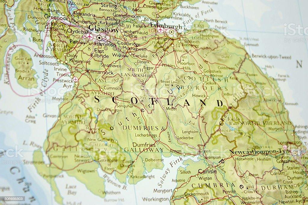 Cartina Geografica Della Scozia.Mappa Mostra Parte Meridionale Della Scozia Fotografie Stock E Altre Immagini Di Carta Geografica Istock