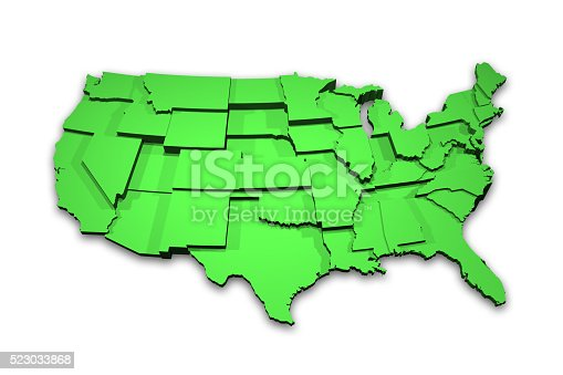 520945644 istock photo 3D USA Map Showing States 523033868