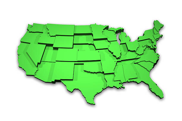 3D USA Map Showing States stock photo