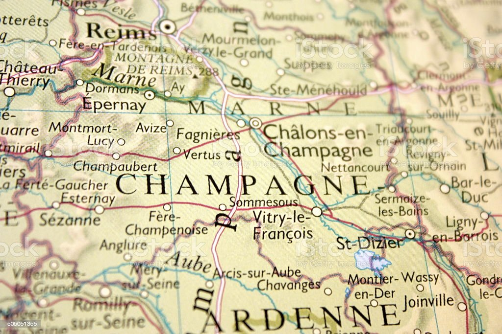 Map showing the Champagne region in France stock photo