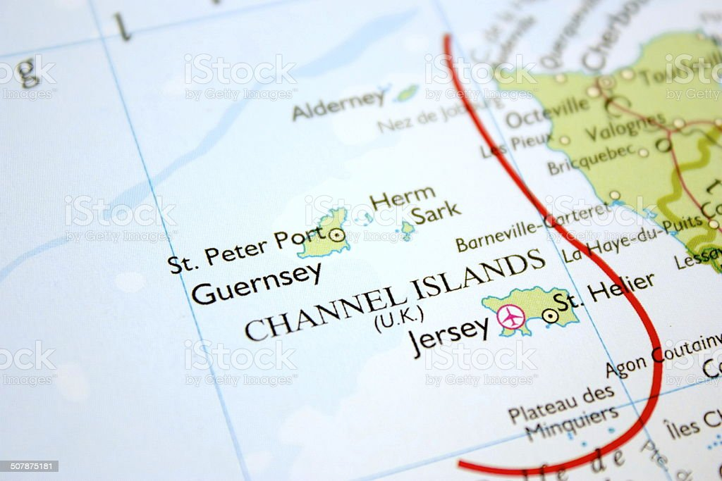 Map showing the Channel Islands stock photo
