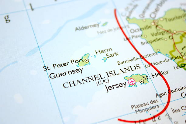 map showing the channel islands - english channel stock pictures, royalty-free photos & images