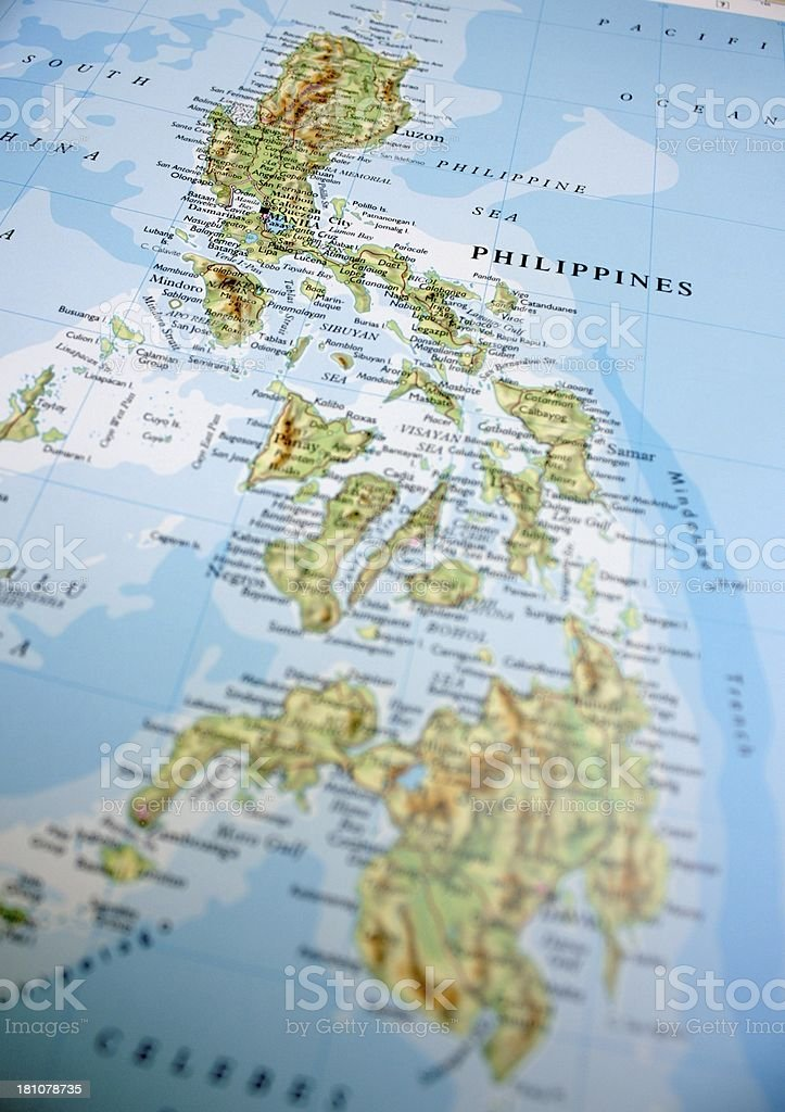 Map showing the Philippines stock photo