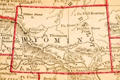 vintage map macro of Wyoming