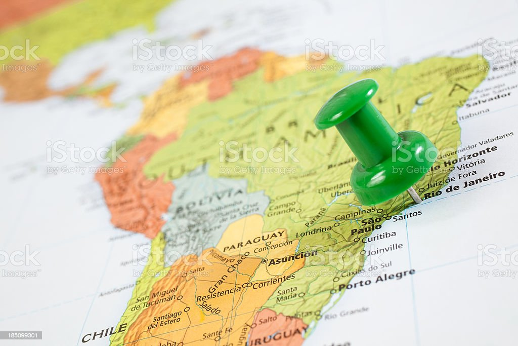 Map South America with pushpin on Rio