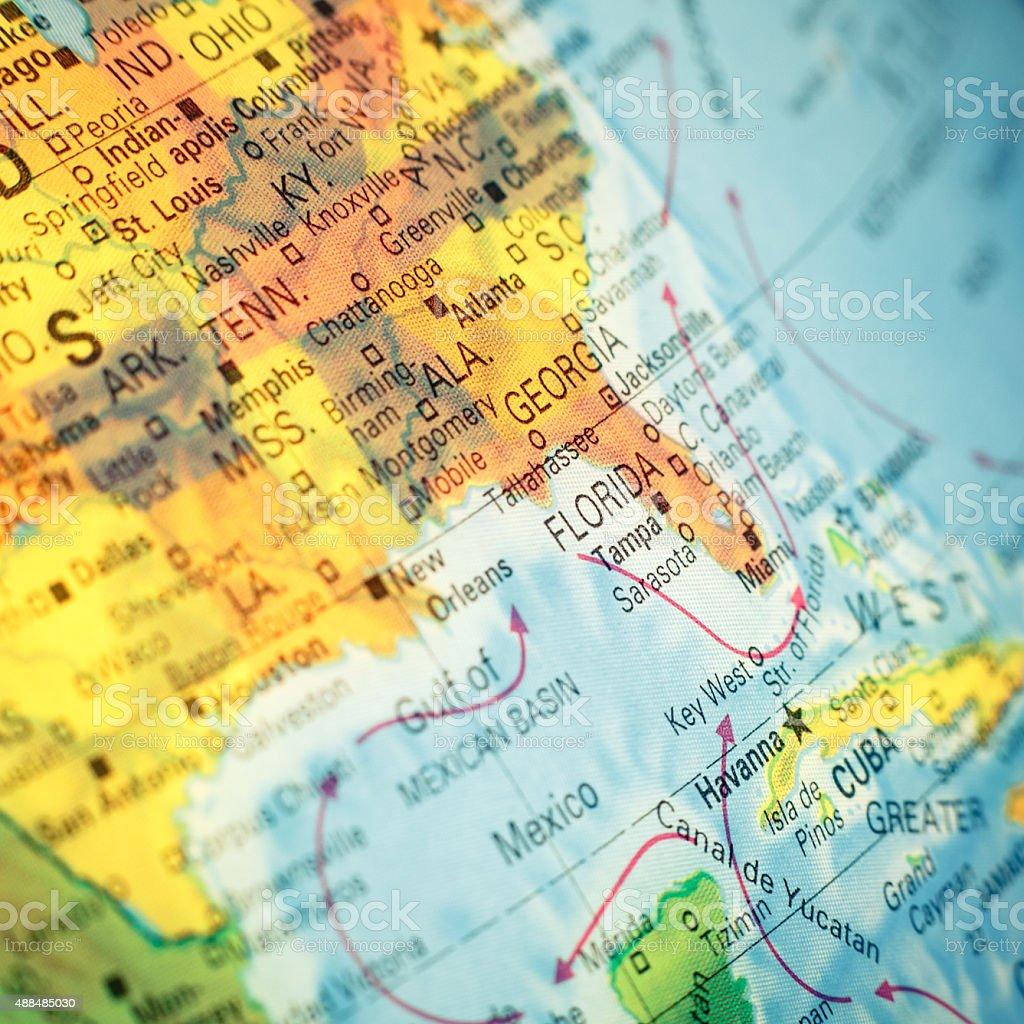 Map SouthEast USA. Close-up image stock photo