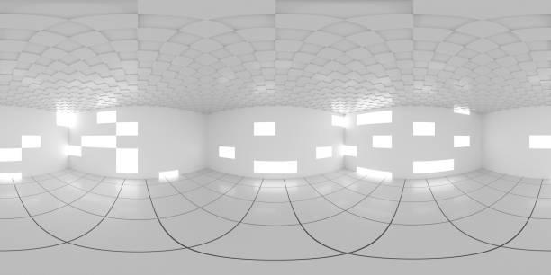 8K HDRI Karte, kugelförmiger Umgebungspana-Hintergrund, abstrakte Innenlichtquelle Rendering (3d ächbukkelförmige Illustration) – Foto