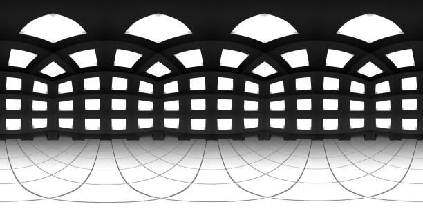 8K HDRI Karte sphärischen Umgebungspana-Hintergrund, abstrakte Innenlichtquelle Rendering (3d ächbukkelförmige Illustration) – Foto