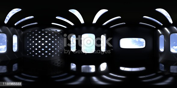 istock 4K HDRI map, spherical environment panorama background, high contrast interior light source rendering with intense sunlight and black walls (3d equirectangular illustration) 1155965333