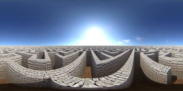 8K HDRI Karte, kugelförmige Umgebungspanorama-Hintergrund, kontrastreiche Außenbeleuchtung, Landschaft mit riesigen Labyrinth unter blauem Himmel (3d äquivaltangular Rendering) – Foto
