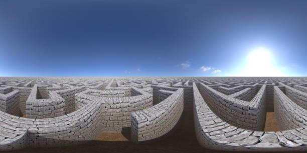8K HDRI Karte, kugelförmige Umgebungspanorama-Hintergrund, kontrastreiche Außenbeleuchtung, Landschaft mit großem Labyrinth unter blauem Himmel (3d ächdeutige Illustration) – Foto