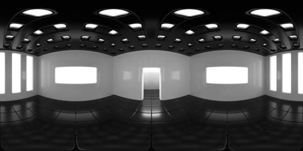 8K HDRI Karte, kugelförmiger Umgebungspanorama-Hintergrund, moderne, kontrastreiche Innenraumlichtquelle (3d-äquivalseckige Darstellung) – Foto