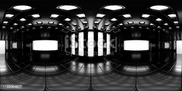 istock 8K HDRI map, spherical environment panorama background, modern high contrast interior light source rendering (3d equirectangular rendering) 1133064827