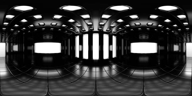 8K HDRI-Karte, kugelförmiger Umgebungspanohintergrund, moderne, kontrastreiche Innenraumlichtquelle (3d-äquivalente Darstellung) – Foto