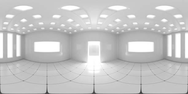 8K HDRI Karte, kugelförmiger Umgebungspanohintergrund, moderne, kontrastreiche Innenraumlichtquelle (3d-äquivalente Illustration) – Foto