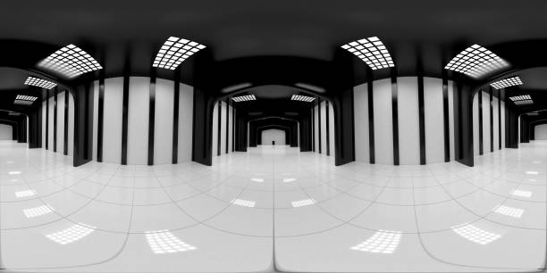 8K HDRI map, spherical environment panorama background, modern high contrast interior light source rendering, huge industrial hall (3d equirectangular render) 360 degree lighting backdrop texture high dynamic range imaging stock pictures, royalty-free photos & images