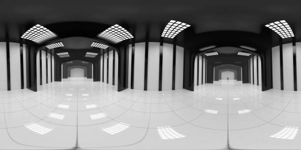 8K HDRI map, spherical environment panorama background, modern high contrast interior light source rendering, huge industrial hall (3d equirectangular rendering) 360 degree lighting backdrop texture high dynamic range imaging stock pictures, royalty-free photos & images
