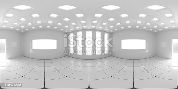 istock 8K HDRI map, spherical environment panorama background, modern high contrast interior light source illumination (3d equirectangular illustration) 1145476855