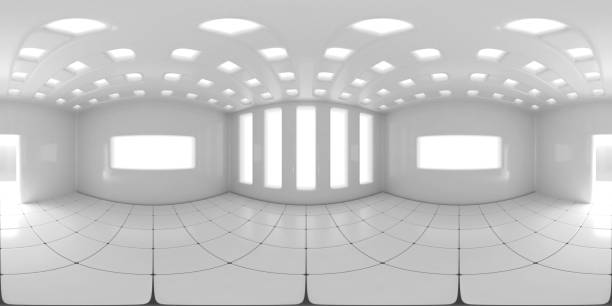 8K HDRI map, spherical environment panorama background, modern high contrast interior light source illumination (3d equirectangular illustration) 360 degree lighting backdrop texture high dynamic range imaging stock pictures, royalty-free photos & images