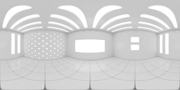 8K HDRI Karte, kugelförmige Umgebungspanorama-Hintergrund, moderne Innenbeleuchtung Rendering in grauen Skalen (3d Innenausrüster) – Foto