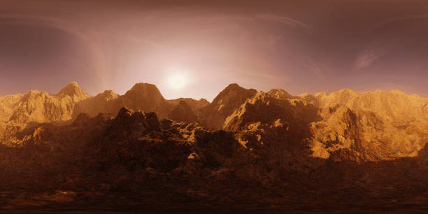 Carte de HDRI, fond panorama sphérique environnement avec la chaîne de montagnes au lever du soleil, source de lumière rendering (rendu 3d d'équirectangulaire) - Photo