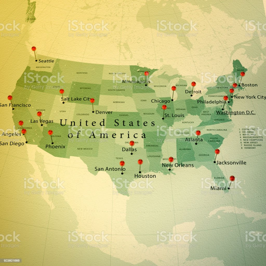 USA Map Square Cities Straight Pin Vintage stock photo