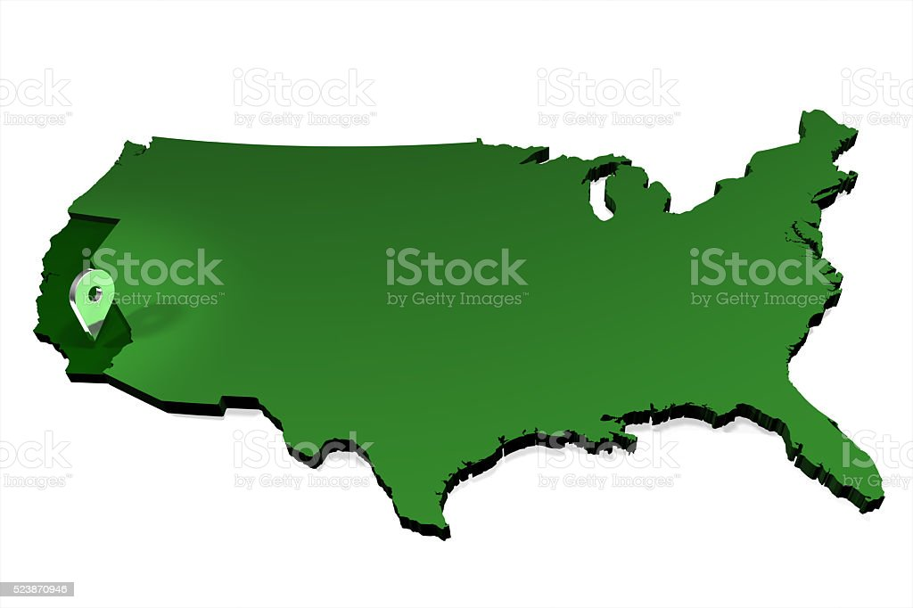 USA Map - State Locator - California stock photo