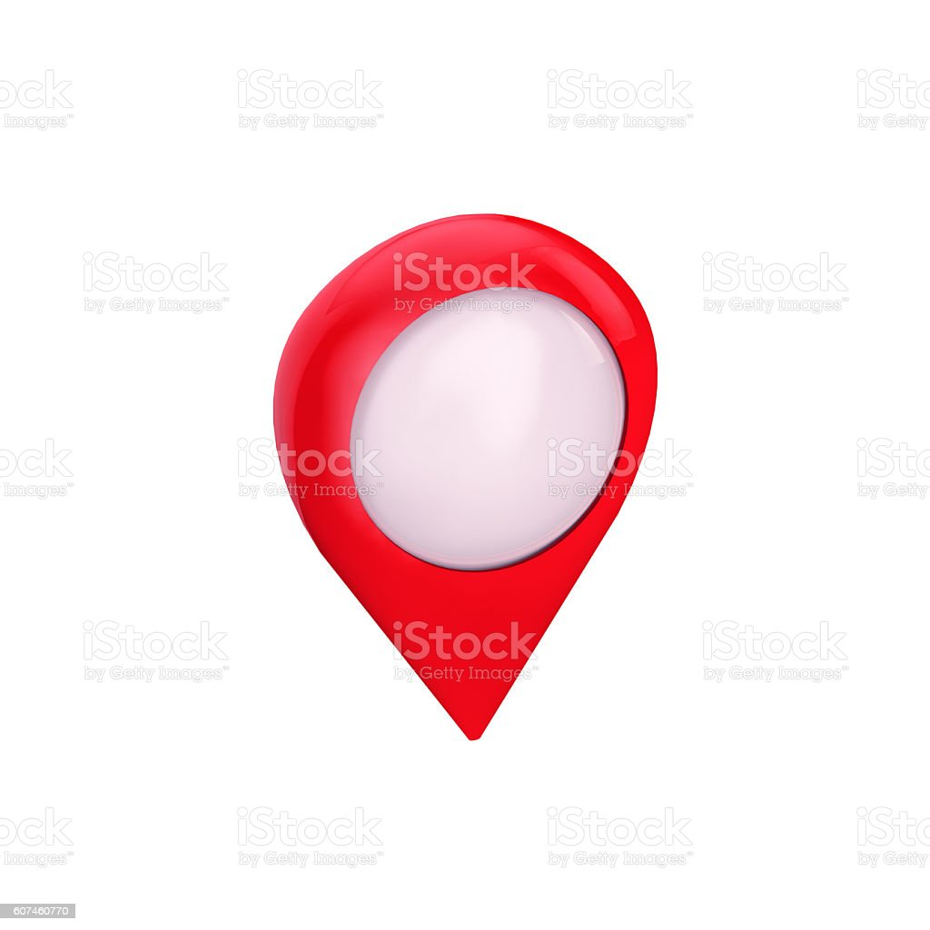 Map symbol, location pin isolated, perspective view, stock photo