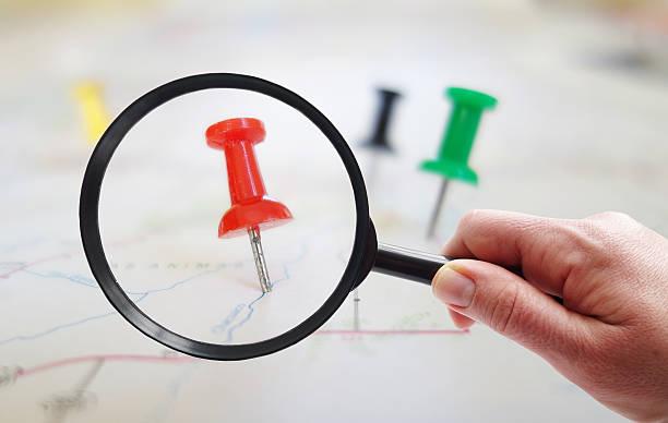 Map tacks closeup stock photo