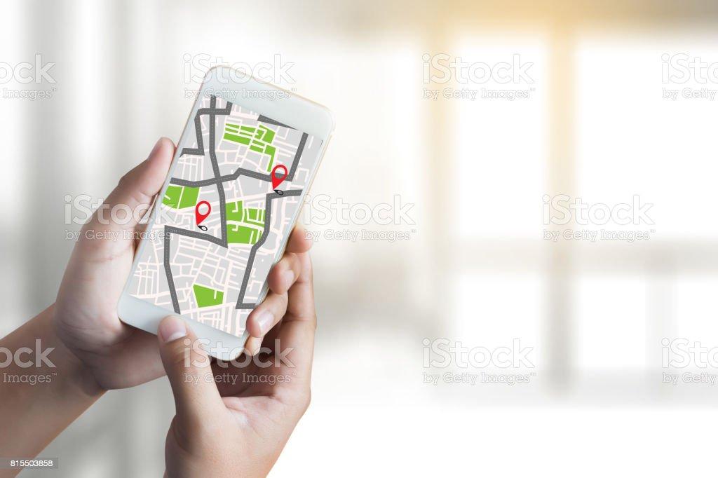 GPS-karta till rutt Destination nätverksanslutning läge Street karta med GPS-ikoner navigering bildbanksfoto