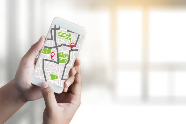 a conexión de red de destino de la ruta calle mapa con los iconos de navegación de gps mapa - sistema de posicionamiento global fotografías e imágenes de stock