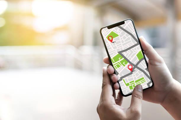 gps-karte routenziel netzwerkverbindung straße lageplan mit gps-navigation icons - karte navigationsinstrument stock-fotos und bilder