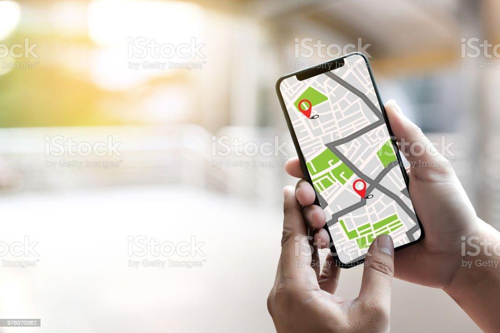GPS-Karte Routenziel Netzwerkverbindung Straße Lageplan mit GPS-Navigation Icons – Foto