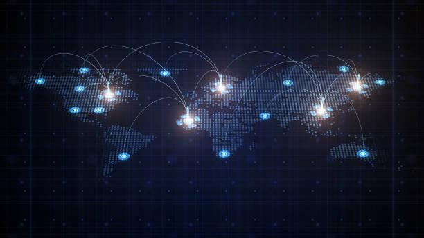 kaart naar de wereld - distributie magazijn stockfoto's en -beelden